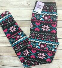 Heart Snowflake Leggings XOXO Black Pink Blue Printed One Size OS