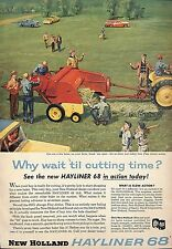 COLOR 1957 NEW HOLLAND HAYLINER 68 HAY BALER AD ADVERTISEMENT