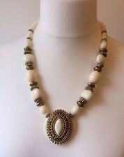 1960's Big Bold Plastic Medallion Necklace Cream Gold Egyptian Style