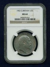 GREAT BRITAIN EDWARD VII 1902 HALF-CROWN CHOICE UNCIRCULATED CERTIFIED NGC MS-64