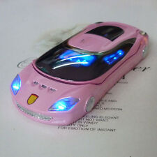 Pink w8 cool Sports car Unlocked flip mobile phone Quad Band Dual SIM mini phone