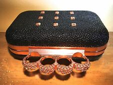 Studded Pebble Duster 4 Ring Rhinestone Knuckle Clutch Purse Rose Gold Metal~R~