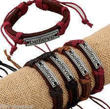 12x/lot adjustable men's leather bracelets big believe bangle gifts
