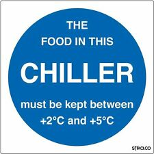Pack of 6 Chiller Temperature Sticker Self-adhesive vinyl sign 10cm Food Storage