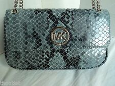 NEW MICHAEL KORS FULTON DENIM GENUINE LEATHER FLAP SHOULDER BAG MSR$ 268