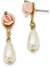 1928 Jewelry - Gold-tone Porcelain Rose/Simulated Pearl Post Dangle Earrings