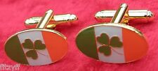 Ireland Flag & Shamrock Cuff Links Cufflinks Eire Gaelic Irish Republic