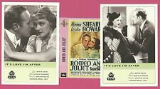 Leslie Howard and Norma Shearer Fab Card LOT Romeo Juliet It's Love I'm After
