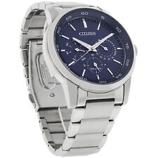 Citizen Eco-Drive Mens 180 Day/Date Blue Dial Bracelet Watch BU2010-57L