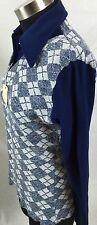 H Bar C Western Knit Nos Shirt Blouse Argyle Plaid Women Xl Pointed Collar ]