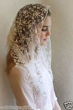 Classic Mantilla White Embroidered Chapel Veil Triangle ~NEW~