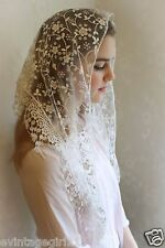 Classic Mantilla White Embroidered Chapel Veil Triangle