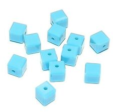 SCC183f TURQUOISE Blue Faceted Square Cube 4mm Swarovski Crystal Beads 12/pkg