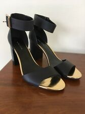 New Look Black Gold Block High Heel UK 9 43 BNWT Elasticated Ankle Cuff Heels