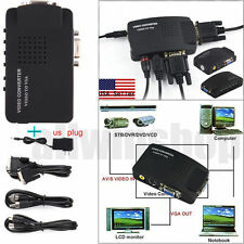 TV RCA Composite S-Video AV In To PC VGA LCD Out Converter Adapter Box USA