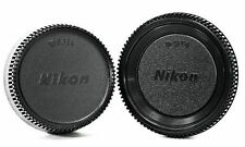 Black Plastic Camera Body Cover + Rear Lens Cap for Nikon Digital SLR