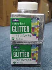 """Sulyn Extra Fine Glitter """"Sterling"""" 2.5 oz LOT OF TWO (2)"""