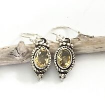 Sterling Silver Oval Yellow Citrine Gemstone November Birthstone Dangle Earrings