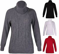 Womens Plus Size Long Sleeve Ladies Cowl Neck Cable Knit Sweater Long Jumper Top