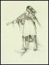 """Native American Vintage Artist Proof by Ken Schmidt: """"Where the Free Wind Blows"""""""