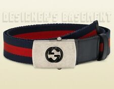 GUCCI red blue 36-90 WEB Canvas INTERLOCKING G logo Slip buckle Belt NWT Authent