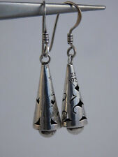 STERLING SILVER ORNATE TAXCO CONE TEE PEE EARRINGS DANGLY MEXICO 925
