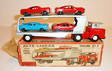 CRAGSTAN Japanese Tin Litho 1950s CAR CARRIER with 4 TIN CARS and BOX ~ 9.25-in