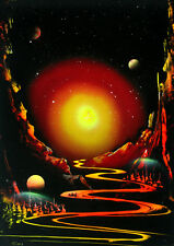 spray paint art painting,space art,oil on wood, original / the Path to the Light