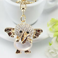 Gold Elephant White Animal Opal Clear Crystal Keyring Chain Handbag Charm. 1473