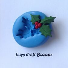Silicone Mould Holly Leaf Berry Cake Pop Decoration Sugarcraft Topper Fondant