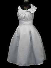 Cherlone White Prom Party Ball Evening Formal Wedding Bridesmaid Dress 12-14