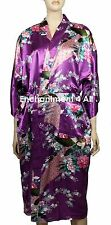 Elegant Handmade PEACOCK Design Silk Satin Long Kimono Robe w/ Waist Tie, Purple