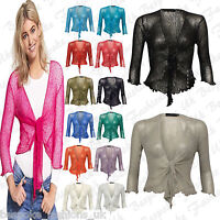 Fine Knit Tie Front Bolero Cropped Ladies Shrug Top Cardigan 3/4 Sleeve One Size