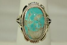 Signed Navajo Made Sterling Silver Boulder Turquoise Ring