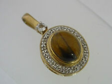 Stunning Large Certified Yellow Tiger's Eye & White Topaz & 9k Gold Pendant