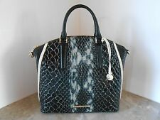 New BRAHMIN LARGE Duxbury Satchel CARLISLE COLLECTION $355 BLACK CARLISLE