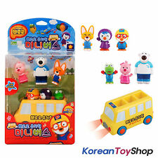 Pororo Mini School Bus & 6 pcs Characters Figures Toy Set Sound Voice LED Effect