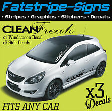 CLEAN FREAK WINDSCREEN & SIDE GRAPHICS DECALS STICKERS CAR VINYL FORD VW CORSA D