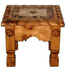 Rustic Marble Rope End Table with Stars Real Wood Western Cabin Lodge