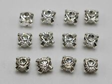 500 Silver Clear Crystal Glass Rhinestones Rose Montees 6mm Sew on Beads