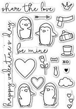 Memory Box Clear Stamp - Be Mine Penguins - CL417 - The Rubber Buggy