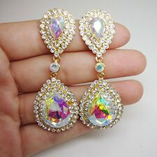 Gold Tone Bride Wedding Teardrop Dangle Earrings Clear AB Rhinestone Crystal