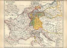 Carta geografica antica EUROPA GERMANIA epopea di NAPOLEONE 1890 Old antique map