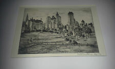Mortimer Borne American  NYC Scene Plaza Towers (Small) Dry Point Etching 1930