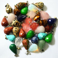 Fashion Assorted natural stone drop rhombus Charm pendants 12pcs/lot wholesale