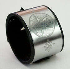 Pentagram-Chaos Star-Black Leather Cuff Wristband Bracelet adjustable-Handmade