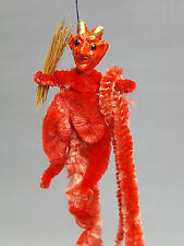 Vintage Krampus ornament red chenille and composition