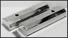 SBC FABRICATED POLISHED TALL ALUMINUM VALVE COVERS WITH ACC. HOLES  # 6351-P