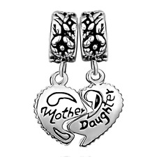 Charms For Bracelets - Charm Dangle Beads -Heart Love Mom Mother Daughter Puzzle