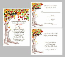 100 Personalized Custom Fall Autumn Tree Rustic Organic Wedding Invitations Set